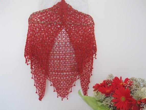 Wedding Shiny Red Rose  Shawl  Beaded - Mother's Day, Wedding Shiny Shawl , Gift, Hand  Made, Crochet