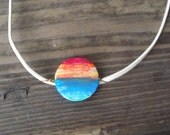 SOLD - A Sunset at the beach painted bead pendant - SOLD