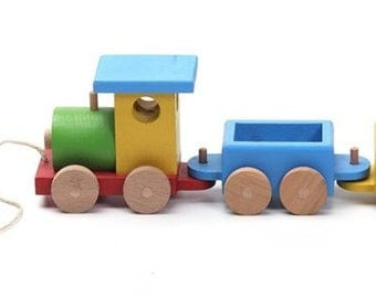 Lovely handcrafted wooden train natural, organic wooden toys for kids