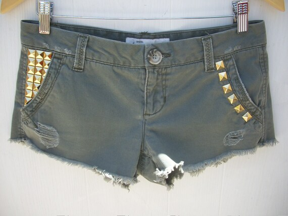 Sexy Low Rise Distressed Green Aeropostale Studded Shorts Ready To Ship