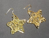Star spangled wire wrapped earrings / gold