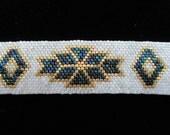 Gold, White, Blue Iris Bracelet Peyote