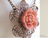 Wild Rose - vintage copper filigree necklace, pink resin rose