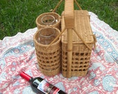 Vintage Picnic Basket with Wine Glass Holders