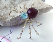 Lovely Beaded Christmas Spider Ornament -- Blue/Mauve/Gold/Purple