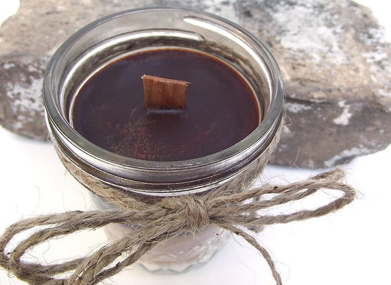 Wood Wick Soy Candle scented with S'MORES  -- 8 ounce Jar