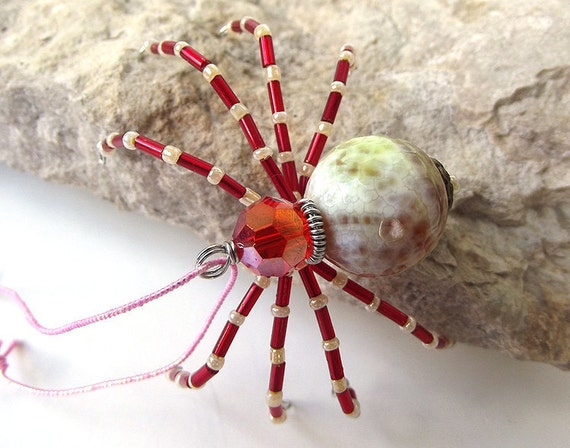 Pretty Beaded Christmas Spider Ornament -- Red/Green/White
