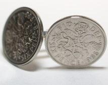 1966 Sixpence Cufflinks 50th birthday.  Original sixpence coins Great gift from 1966 50th birthday, 50th birthday 1966 birthday gift