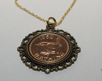 Fancy Pendant 1954 63rd Birthday Farthing & 18in Gold Plated Sterling Silver chain 63rd