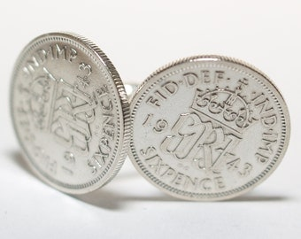 1943 Sixpence Cufflinks 74th birthday.  Original sixpence coins Great gift from 1943 74th