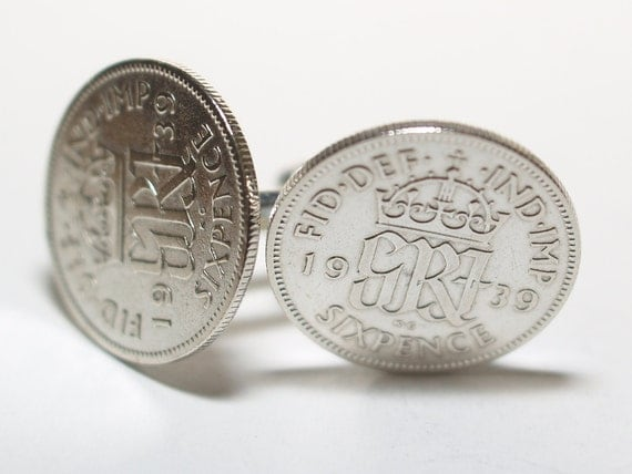 1939 Sixpence Cufflinks 77th birthday.  Original sixpence coins Great gift from 1939 77th