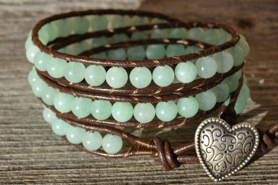 Triple wrap beaded leather bracelet - Aqua jade beads on dark brown leather - Boho chic leather wrap bracelet