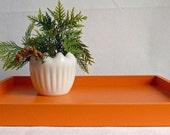 Tangerine Orange Wood Decorative Tray Home Decor 14 x 18 for office, kitchen, coffee table, organization, entertaining