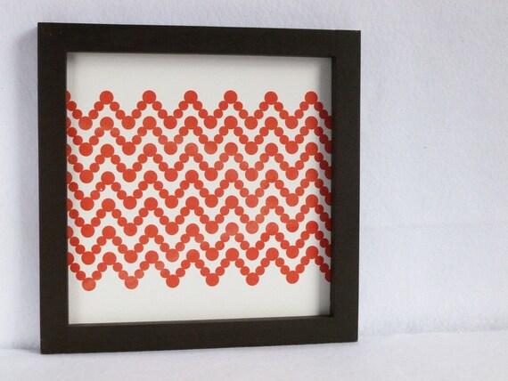 Tangerine Orange Chevron Geometric Polka-Dot wall art with Chocolate frame 12 x 12