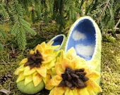 Felted home slippers/Sunflowers