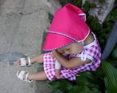 Reversible Vintage Style Adjustable Pink Baby Sun Bonnet