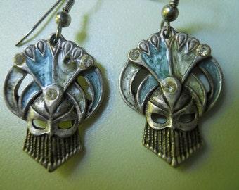 Art Deco Style Enamel Earrings