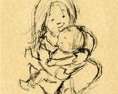 Children's Vintage Art Print - Big Sister sketch study