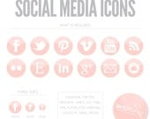 Pink Social Media Icon Buttons - Blog or Web