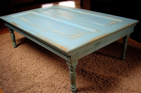 Items Similar To Vintage Turquoise Coffee Table On Etsy