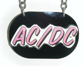 AC/DC recycled cd necklace