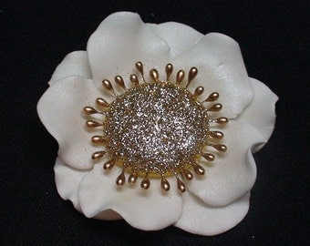 Gold and White Gumpaste Anemone Flower