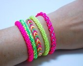 Set of 3 - Neon Braided Stackable Rope Bracelets