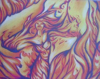 """print of pastel drawing """"The woman in the fire"""""""