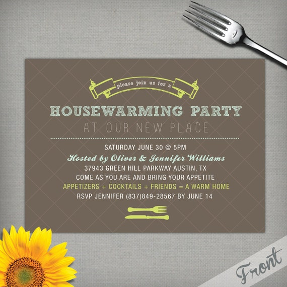 DIY Fun Housewarming Party Invite (Digital Ready to Print File) 5x7 in.
