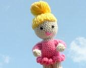 Crochet Amigurumi Adorable Pink Ballerina Doll with bendable arms