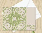 CLEARANCE Green Pattern Thank You Card, green graphic thank you card