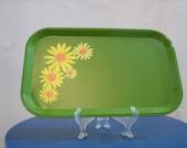 Set of 4 Vintage Green Retro Daisy Trays
