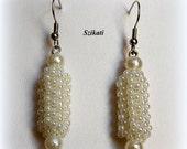 Beaded pearl earrings, seed bead jewelry, bridal jewelry, OOAK jewelry
