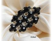 Beaded black silver ring, elegant unique design, OOAK