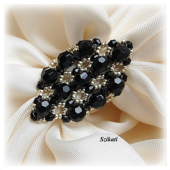 Elegant Black/Silver Cocktail Ring, Statement Ring, Art Beadwork Ring, Women's Beadwoven Jewelry, Party Wear Jewelry, Gift for Her, OOAK