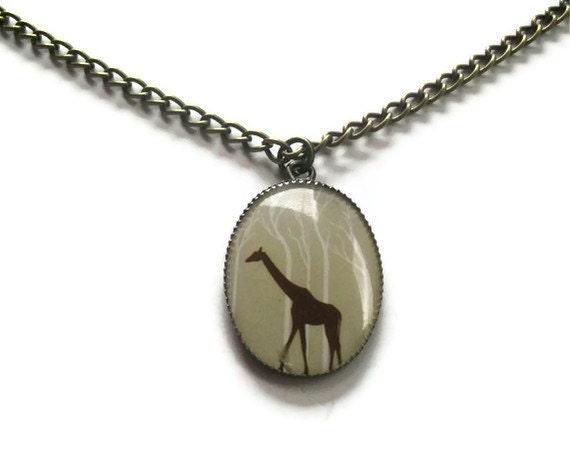 Giraffe Necklace, Oval Resin Pendant Bronze Chain