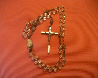 Vintage Rosary, with Sterling Silver Medallion and Crucifix