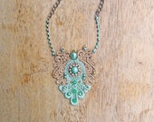 Statement necklace - pearlized mint, seafoam, and gold with rhinestone and gem embellishments