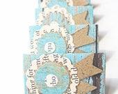 Mini Stationary Set in Shabby Vintage & Kraft Paper on a Shabby Teal Fence, OOAK Handmade, Unique Mini Stationary