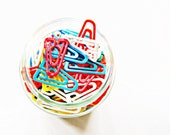 vintage triangle paper clips , mixed media , set of 10 , geometric paper clips,retro clips, primary colors, plastic paper clips