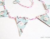 Mini Paper Bunting Banner - Vintage Blossom Designs, Scrapbooking Embellishment, Photo Prop, Package Decoration, OOAK