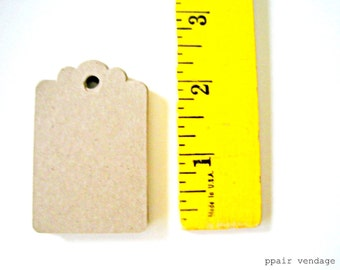 25 Kraft Tags, Medium Kraft Paper Tags Scalloped, Gift Tags, Wedding Wish Tags, Place Cards, Natural & Eco Friendly