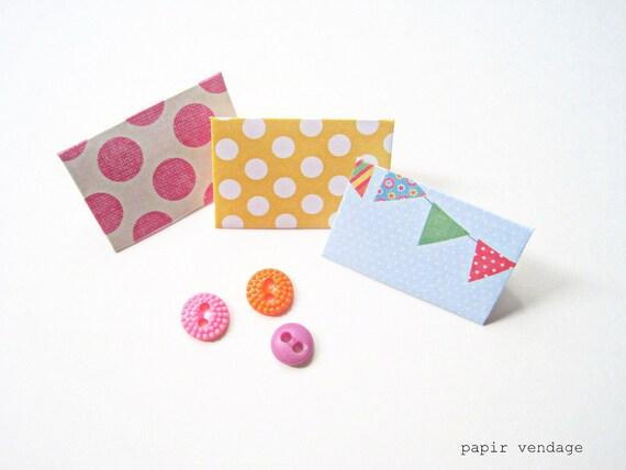 10 Mini Envelopes Bunting Flag Design, Set of 10 -- Wedding Reception, Special Notes, Party Favors, Scrapbook Delights