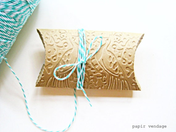 10 Peacock Embossed Pillow Boxes, Jewelry Boxes, Wedding Favor Boxes, Party Favor Boxes,Embossed Pillow Boxes, Baby Shower Boxes, Peacocks