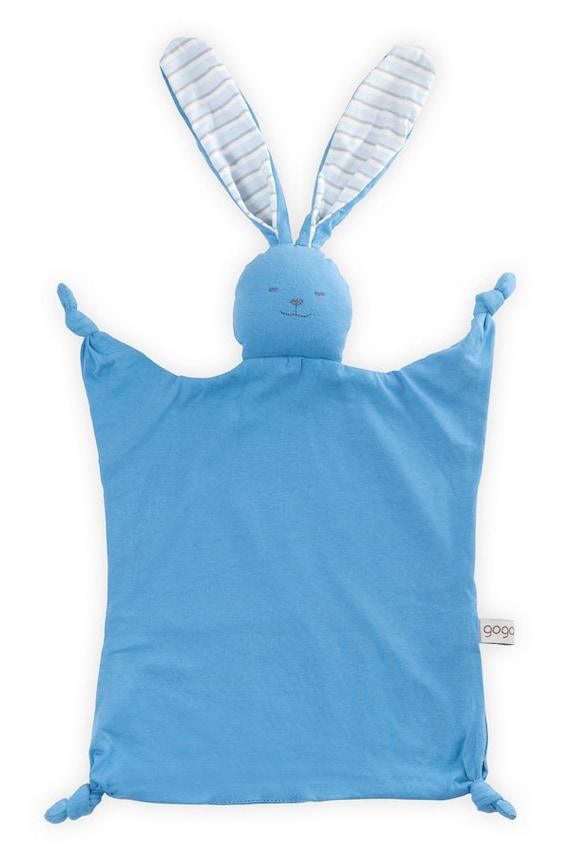 organic blankie,baby blue Knotty bunny