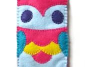 Cute Rainbow Owl Felt Gadget Sleeve Phone Camera