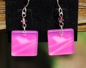 Sterling Silver Pretty Hot Pink Square Frosted Earrings with Swarovski Crystal