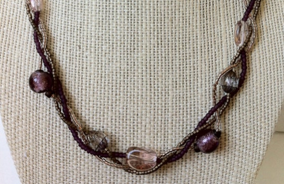 Purple and bronze braided seed bead lobster clasp necklace