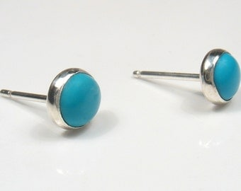 5mm round Turquoise cabochon silver stud