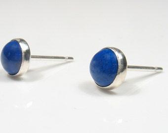 5mm round Lapis Lazuli cabochon silver stud